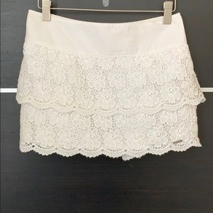 Hollister White Tiered Lace Skirt